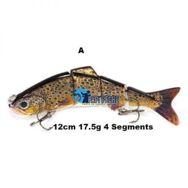 Leurre dur réaliste Swimbait 12cm 17.5g 4 Segments